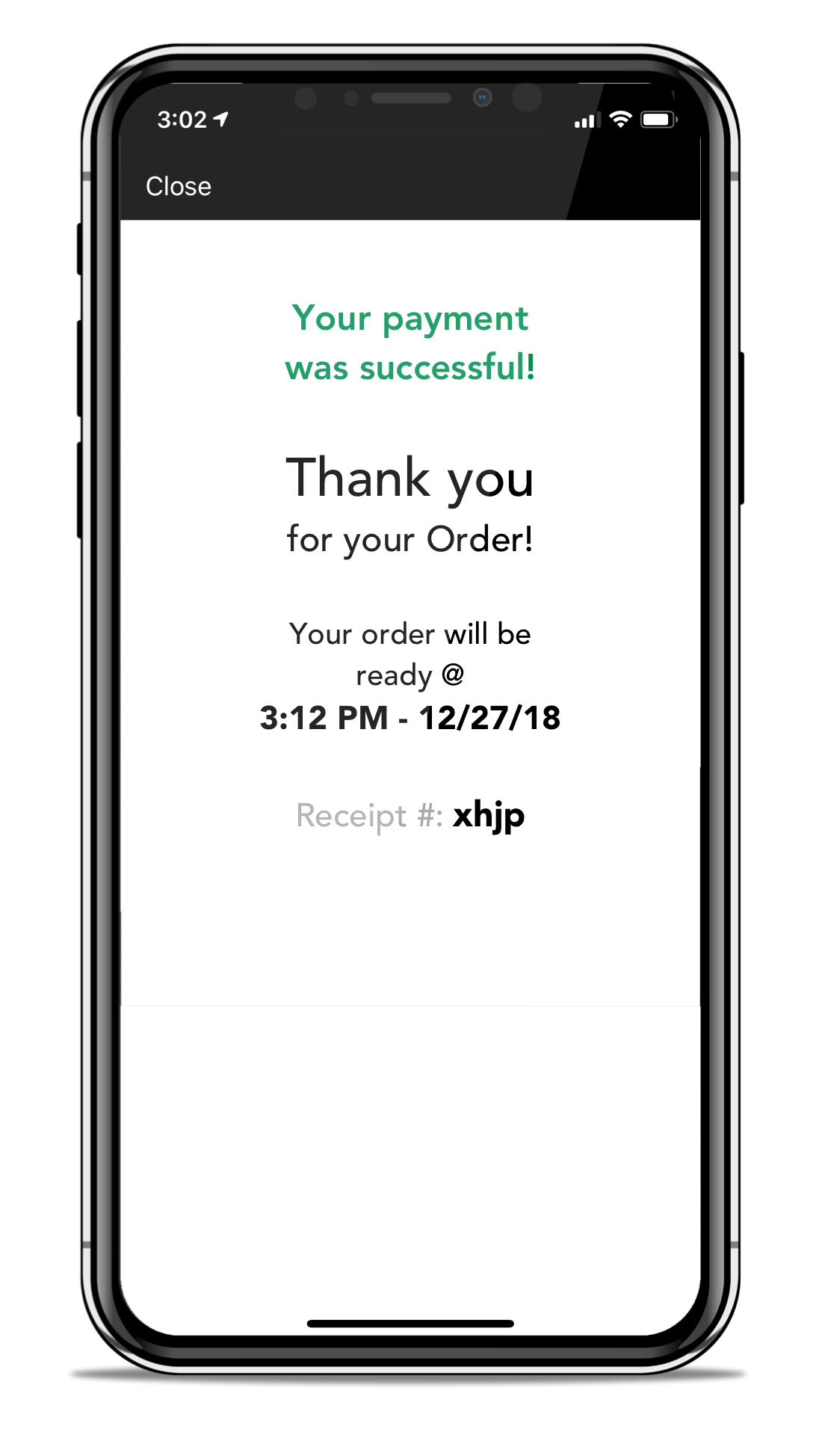 Order Successful Confirmation Screen