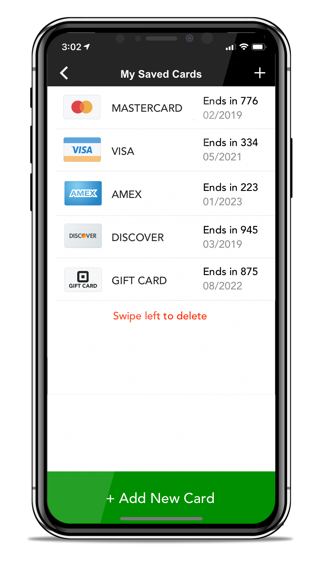 Manage Credit Cards Screen