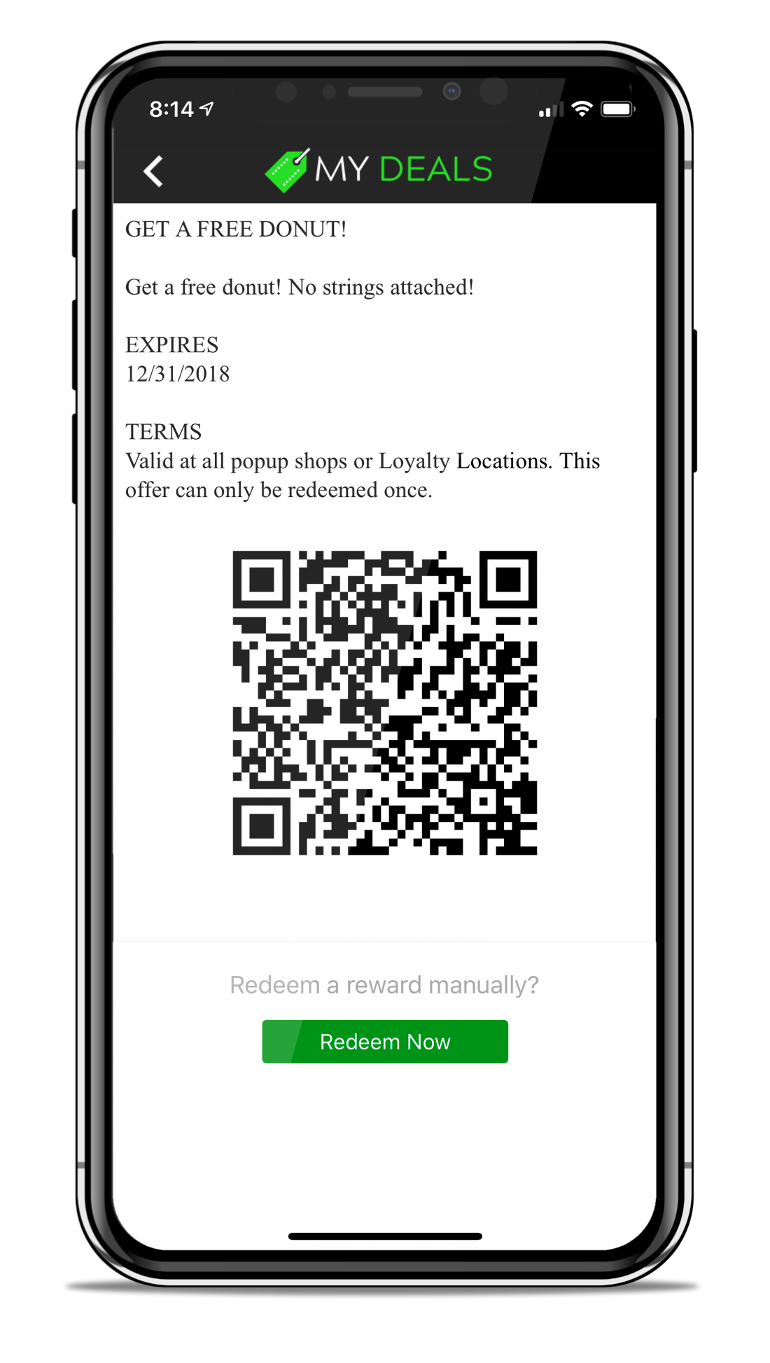 Rewards & Deals Can Be Redeemed in Square Terminal, In-App via Admin QR Scan or via Manual Redeem Button